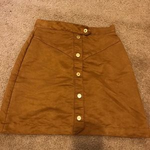 camel colored suede button up h&m skirt
